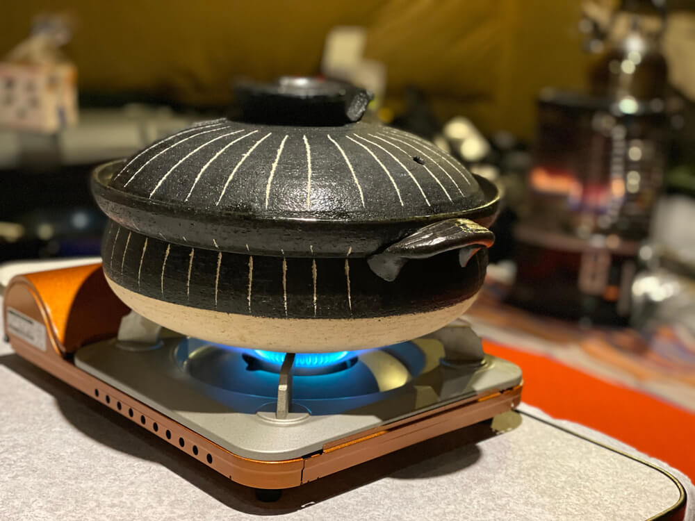camping stove in the tent