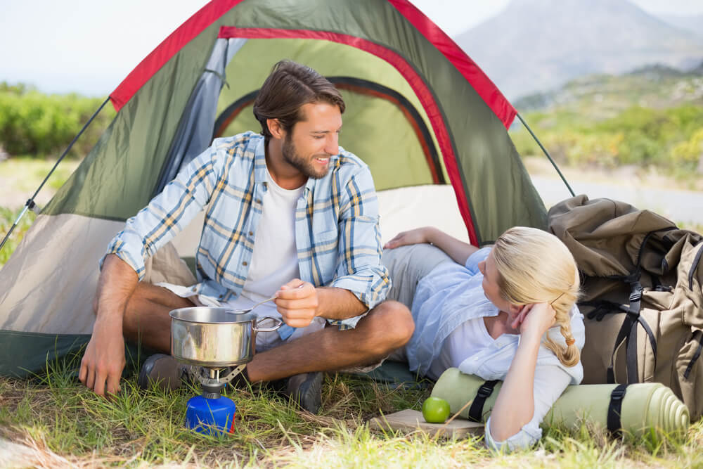 cooking on camping stove