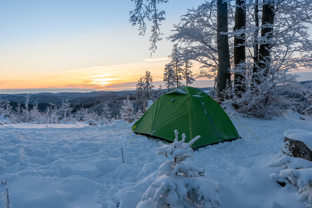 tent in cold winter day
